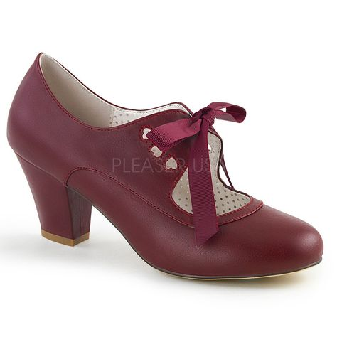 f683a86b1df Pin Up Couture WIGGLE-32 Burgundy Faux Leather 2 1 2