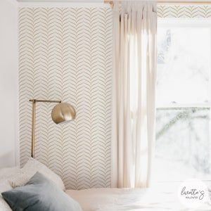 Chevron Wallpaper Chevron Painted White Gold L By Crystal Walen Custom Printed Removable Self Adhesive Wallpaper Roll By Spoonflower In 2021 Gold Accent Wallpaper Accent Wallpaper Chevron Wallpaper