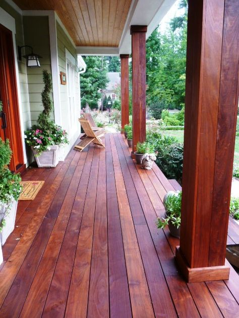 Front Porch Using Ipe Wood For Deck And Columns Front Porch Design Front Porch Decorating Porch Design
