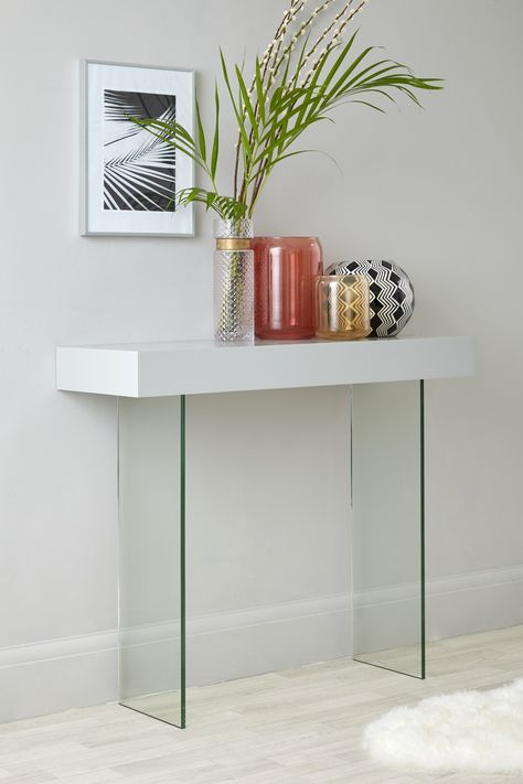 Calanna Grey Oak And Glass Console Table Dining Room Console