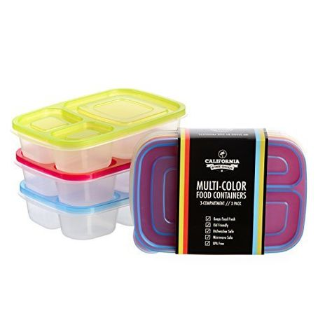 California Home Goods 3 Compartment Reusable Food Storage Containers For Kids And Adults Micro Food Storage Container Set Food Storage Containers Food Storage