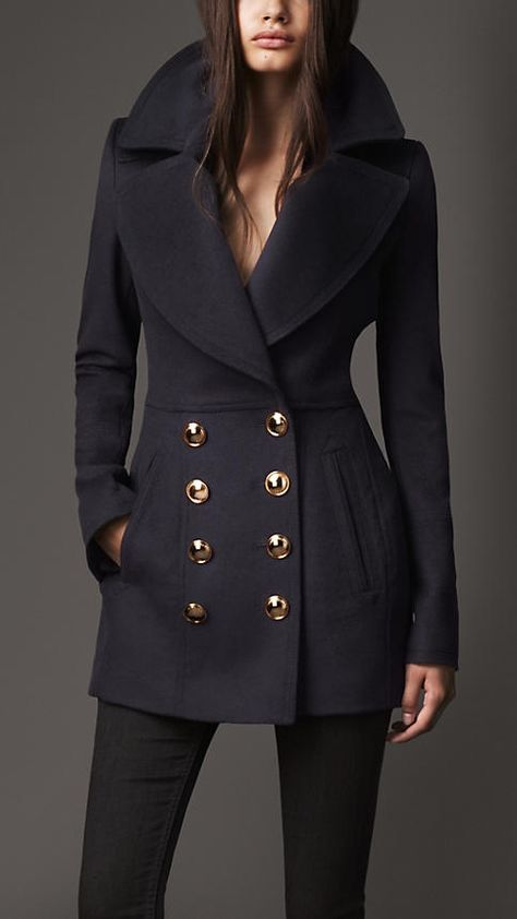 Burberry London Wool Cashmere Pea Coat - this looks so warm!