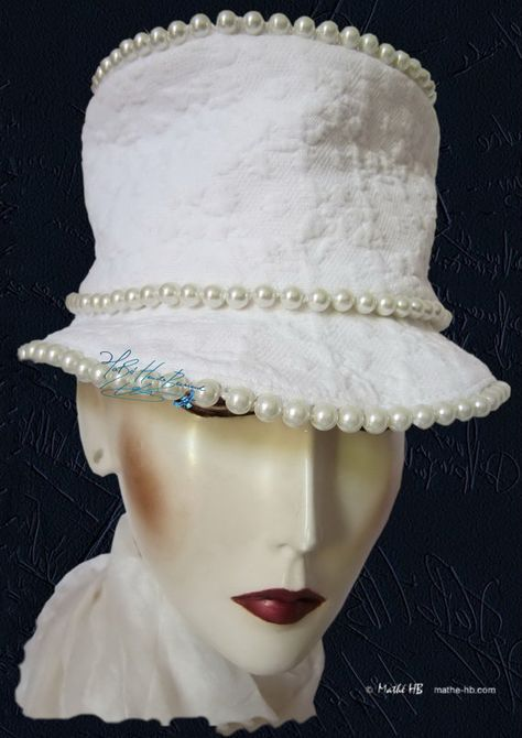 summer smart hat ivory pearly resin pearls and par MatheHBcouture