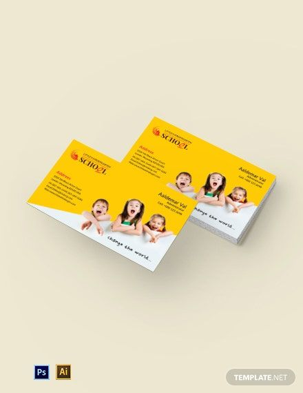 Kindergarten Business Card Template Psd Illustrator Business Card Template Psd Business Card Template Card Template