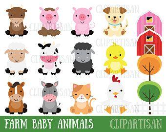Baby Animal Clipart Bundle Safari Animals Woodland Animals Etsy Cute Animal Clipart Animal Clipart Farm Baby
