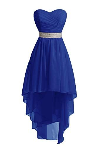 HUINI Bridesmaid Dresses Long Prom Gowns Party Dress Chiffon Strapless High-Low Homecoming Dress Royal Blue UK14