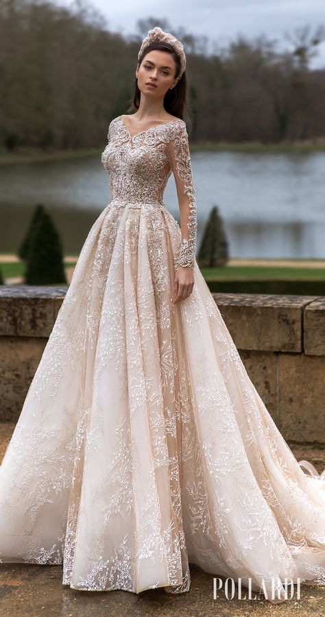 Elegant Ball gown Wedding Dress style with long sleeves and sparkly lace for t fairytale wedding day   Cinderella-inspired bridal gown with regal vibes for the bride who wants a queen look   How to Choose a Wedding Dress in 2021   High-Fashion Bridal Trends by Pollardi   Royalty Bridal Collection - 3198_1 Solemnity   See more gorgeous bridal gowns by clicking on the photo - Belle The Magazine