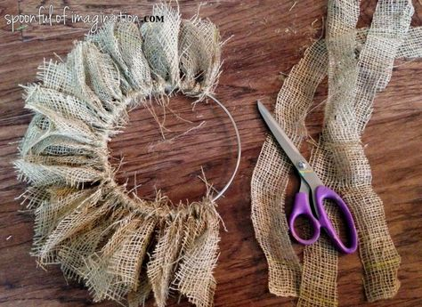 Here is a really 3 supply burlap wreath! So easy your kids could do it. crafts wreath, DIY {easy} Burlap Wreath - Spoonful of Imagination Burlap Projects, Burlap Crafts, Wreath Crafts, Fabric Crafts, Easy Burlap Wreath, Diy Wreath, Sunflower Burlap Wreaths, Chevron Burlap Wreaths, Burlap Garland