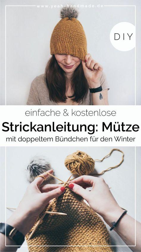 DIY | Mütze mit doppeltem Bündchen einfach und kostenlos stricken. Die Strickanleitung eignet sich für Damen und Herren Mützen. Das doppelte Bündchen ...  #Bündchen #DIY
