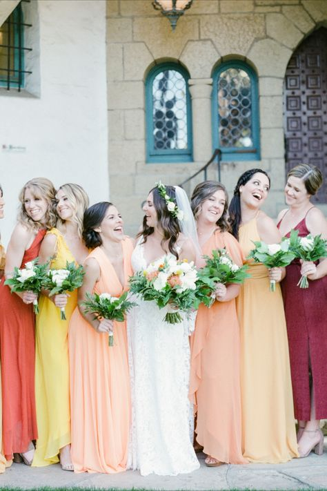 Wedding Planning and Event Coordination: KB Events | Venue: Moxi - The Wolf Museum of Exploration + Innovation | Photographer: Michael & Anna Costa Photography #bridalparty #weddingdress #orangedress #warmcolors #colorful #lively #yellowdress #bride #storytelling #visionary #weddingparty #personal