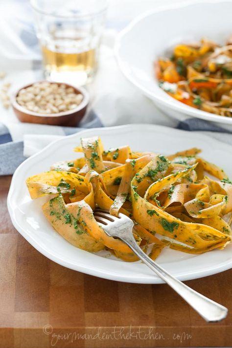 Sweet Potato Noodles with Kale Pesto (Gluten Free, Grain Free, Veg… - sweet potatoes, kale or chard, fresh parsley, almonds, garlic clove, lemon juice, red pepper flakes, salt, olive oil