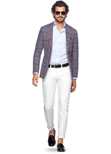 NWT SuitSupply Havana Blue Red Check Wool Silk Blazer 38S