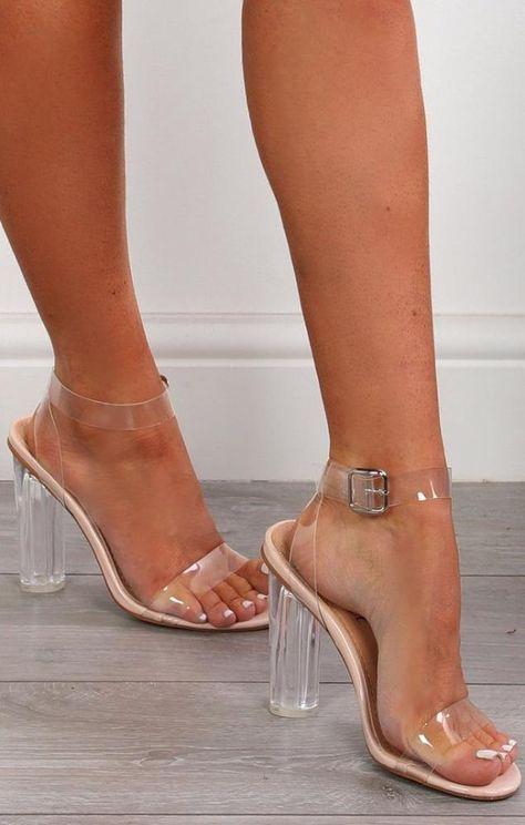 Perspex Barely There Clear Nude Block Heels-Mara Pale Blue Heels, Nude Heels, High Heels Stilettos, Strappy Heels, Shoes Heels, Stiletto Heels, Clear Block Heels, Clear High Heels, Clear Shoes