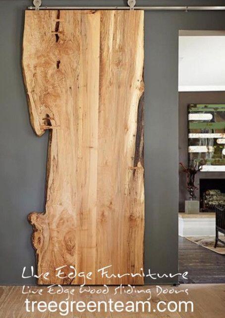 Live Edge Door Wood Slab Doors Sliding Track Doors Craftsman