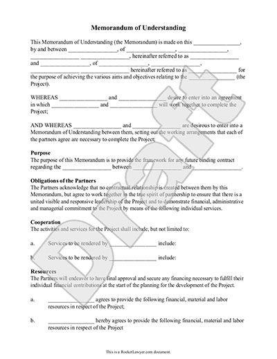 Memorandum Of Understanding Template For Partnership  Memo
