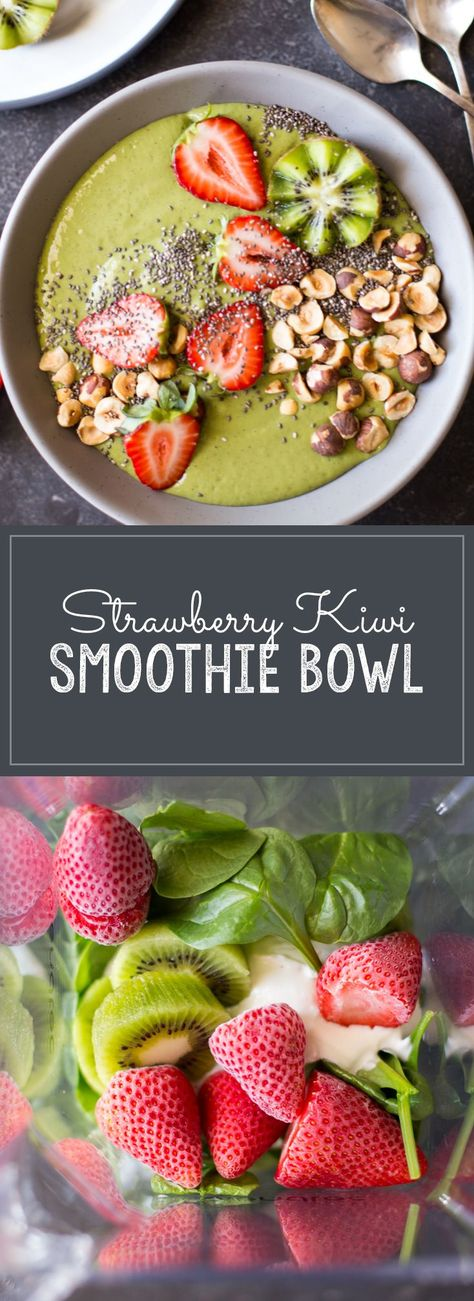 This smoothie bowl, packed with fruits and veggies and 25 grams of protein (without powders), will keep you going all morning long! #smoothiebowl #strawberry #kiwi #proteinsmoothie #breakfast #snack #healthyrecipes