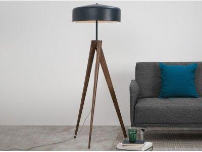 Madison Lampe A Pied Bleu Marine Et Bois Fonce Lampadaire Design Lampes De Sol Modernes Et Lampe Bois