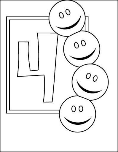 Fichas De Numeros Para Pintar Y Repasar El Cuatro Coloring Pages Coloring Pages For Kids Coloring Sheets