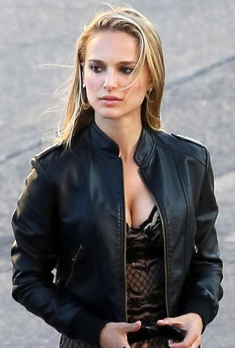 Natalie Portman Black Biker Leather Jacket