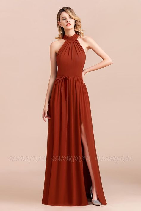 USD $120 - Looking for a perfect bridesmaid dress for your bridetribe? Check out this rust halter bridesmaiddress with BMbridal.com, you'll never regret order here. #bridesmaids #bridesmaiddress #bridesmaiddresses #longbridesmaiddresses #dresses #weddings