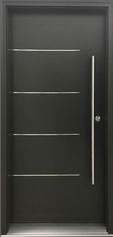Black Front Entry Door With Stainless Steel Inserts Custom Entry Doors Double Front Entry Doors Exterior Front Doors