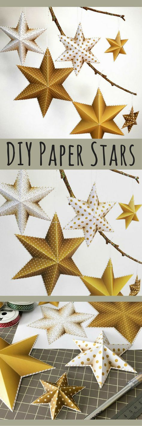 printable diy 3 d paper star decorations gold stars party decor new years