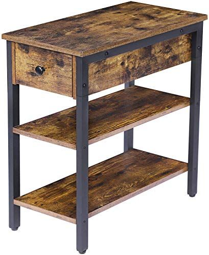 Buy Hoobro Side Table 3 Tier Nightstand Drawer 2 Storage Shelves End Table Living Room Bedroom Office Space Saving Stable Sturdy Construction Industrial Design Rustic Brown Online In 2020 Storage Shelves Brown