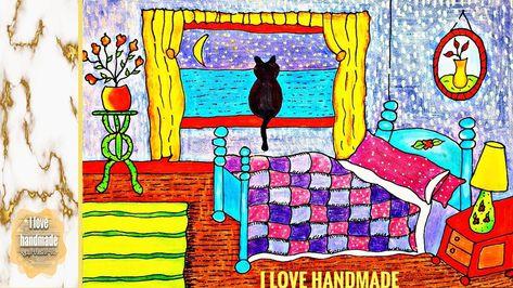 Draw Beautiful Bedroom With Nice Colors رسم غرفة نوم كيوت جدا بألوان و Art Painting Handmade