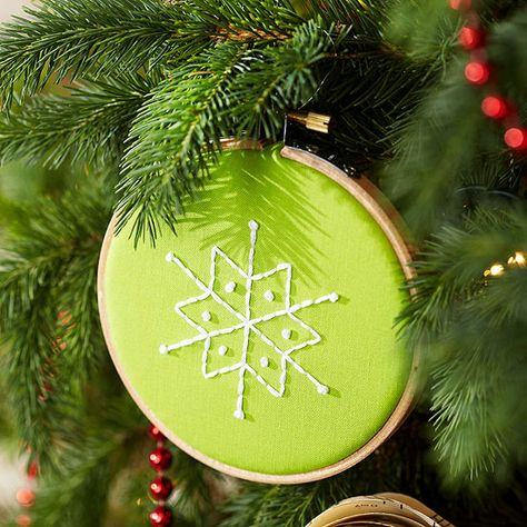 Whip up a batch of these mini Christmas ornaments -- hang some from the tree and give a few as gifts, too! http://www.bhg.com/christmas/ornaments/easy-christmas-ornaments/?socsrc=bhgpin122414miniatureembroideredornaments&page=12