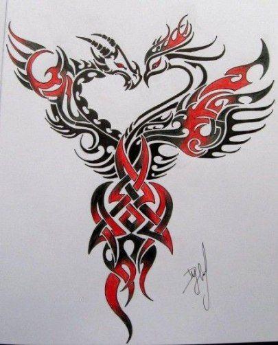 Tattoo Dragon Phoenix Design 41 Ideas Tattoo Phoenix Tattoo Design Phoenix Tattoo Dragon Tattoo Designs