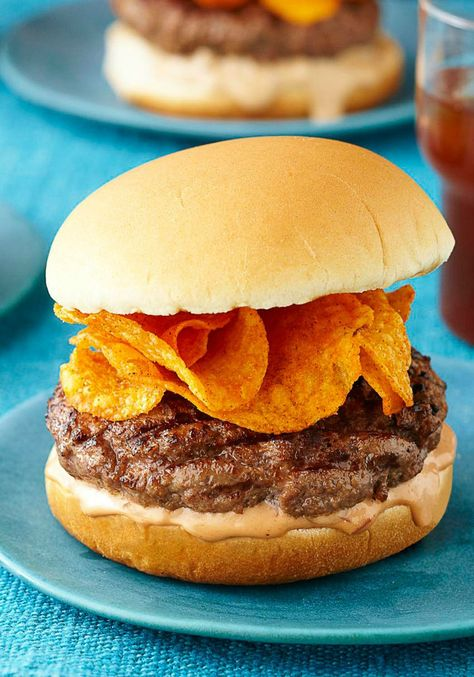 BBQ Crunch Burger -- BBQ potato chips are layered right on the patty, adding flavor and crunch to an already awesome burger recipe. What else is awesome? It's ready for the dinner table in just 20 minutes time!