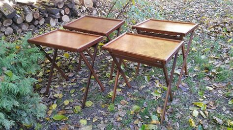 Vintage Mid Century Burl Wood Folding Tv Tray Table Set Of 4 With Stand Bluff City Manufacturing Memphis Tn