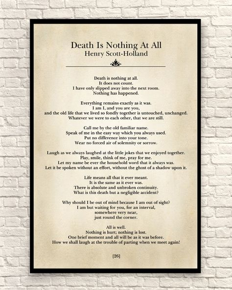 Wall Art, Art Print, Poetry Art Print, Book Page Art Print, Death Is Nothing At All,  Book Page Wall Art, Sympathy Gift, Henry Scott Holland