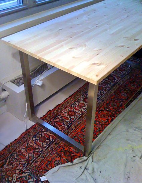 Easy Diy Desk With Ikea Table Tops And Legs Ikea Table Tops Repurposed Furniture Diy Diy Desk