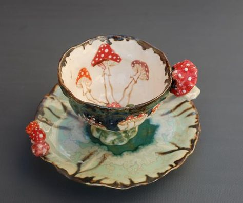 Whimsical Mushrooms Teacup And Saucer Set by Porcelain Dream Shoppe. Ceramic Pottery, Ceramic Art, Coffee Cups, Tea Cups, Mushroom Art, Painted Cups, Tea Party, Stuffed Mushrooms, Ceramics