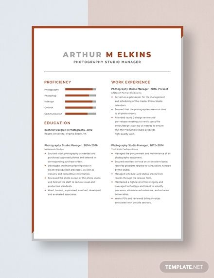 Photography Studio Manager Resume Template Ad Paid Studio Photography Manager Template Resume In 2020 Resume Template Manager Resume Studio Photography