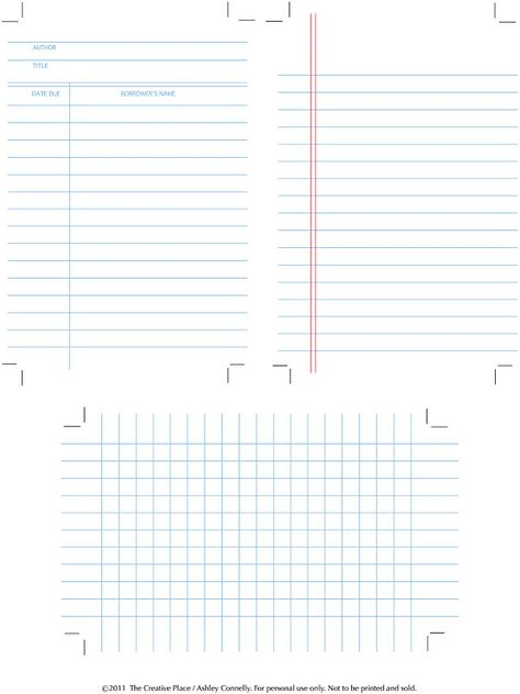 Free Printables for Project Life - library book card, lined paper, and graph paper (Kristy.