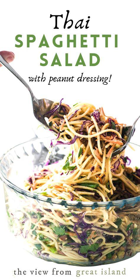 Side Salad Recipes, Asian Recipes, Vegetarian Recipes, Cooking Recipes, Healthy Recipes, Spaghetti Salad, Pasta Salad, Spaghetti Noodles, Great Recipes