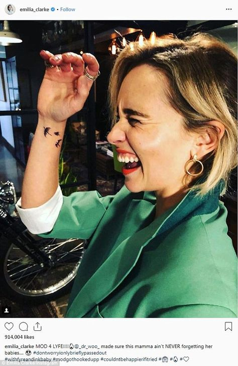 Body ink: She plays Daenerys Targaryen, the Mother of Dragons on Game Of Thrones and on Wednesday, Emilia Clarke showed off her new dragons tattoo on Instagram