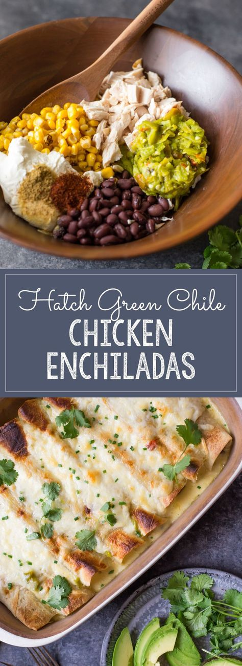 Chicken enchiladas with corn and black beans, covered in a creamy Hatch green chile cheese sauce. A quick and easy dinner with just the right amount of heat! #hatchgreenchilechickenenchiladas #hatchgreenchile #chickenenchiladas #enchiladas #greenchilecheesesauce #dinner