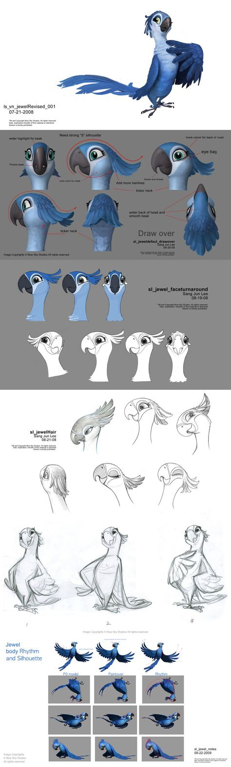 """Jewel, Sangjun Lee  """"Rio"""" was... not so good, IMO, but the designs of all the avian characters, especially Jewel, were very nice.  (Still, """"hair""""?!?)"""
