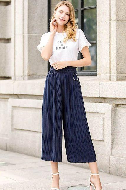 10 Formas De Usar Pantalones Anchos Sin Verte Gorda Mujer De 10 Pantalones Anchos Pantalones Anchos De Vestir Ropa De Moda