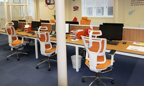 Saxen Furniture - Case Study from the Saxen Portfolio with the Mirus office chairs in orange.