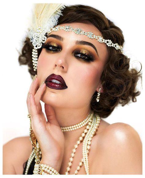 Great Gatsby Makeup, 1920 Makeup, 1920s Makeup Gatsby, Roaring 20s Makeup, Flapper Makeup, Flapper Hair, Gatsby Hair, 1920s Hair, Vintage Makeup