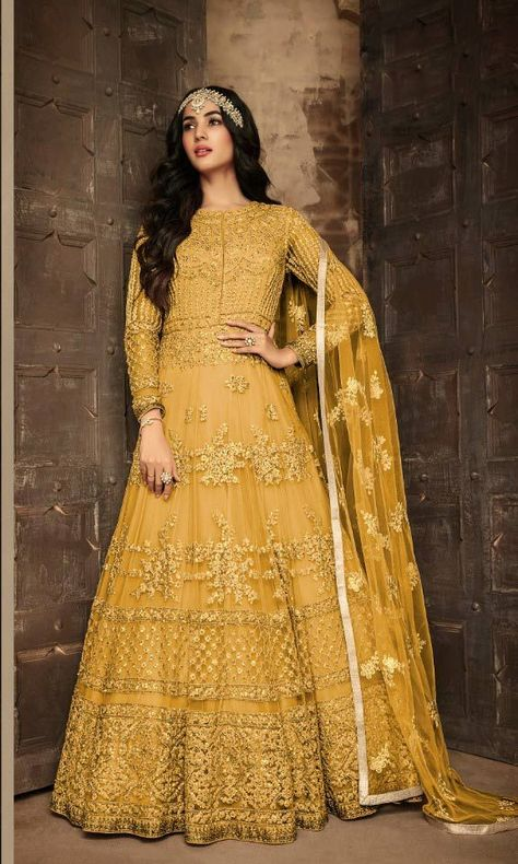 Net Anarkali Salwar Kameez Mustard Color