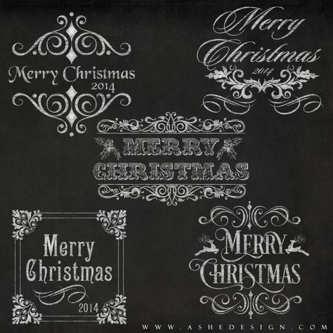 Amped Up Word Art Set Chalkboard Merry Christmas Word