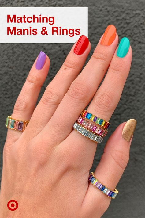 Nail your summer mani with bright nail polish inspiration  rainbow-colored rings to match!