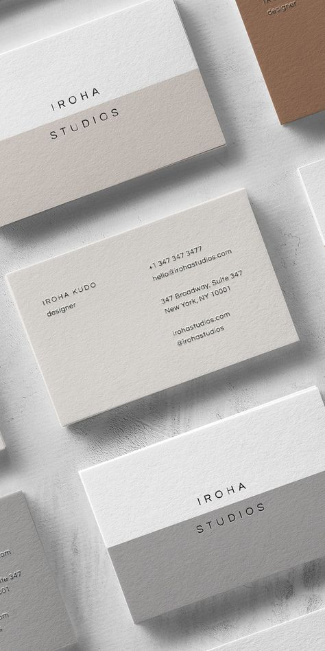 Iroha Business Card Template — The Denizen Co. - The Iroha is a bold yet refined business card template that carries your brand name loud and clear. Business Cards Layout, Minimal Business Card, Letterpress Business Cards, Professional Business Cards, Business Branding, Business Design, Creative Business Cards, Premium Business Cards, Business Card Interior Design
