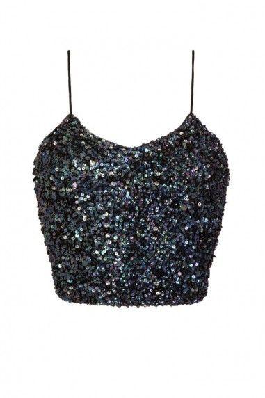 Lace Beads Sandy Iridescent Black Sequin Top Beaded Crop Top Beaded Lace Beaded Top