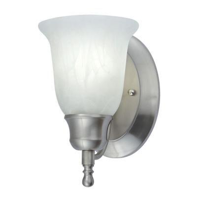 Nicor 1 Light Nickel Fluorescent Vanity Sconce With Alabaster Glass 34475 113nk Sconces Vanity Lighting Wall Light Fixtures